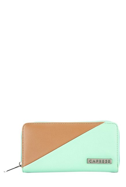 Caprese Nimmy Mint Green & Tan Color Block Wallet