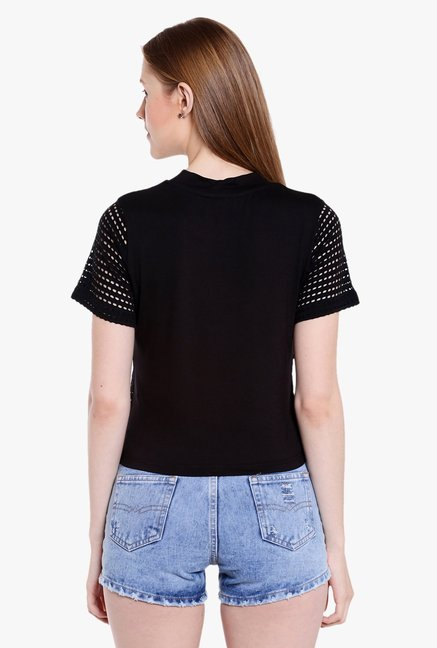 Globus Black Lace Crop Top