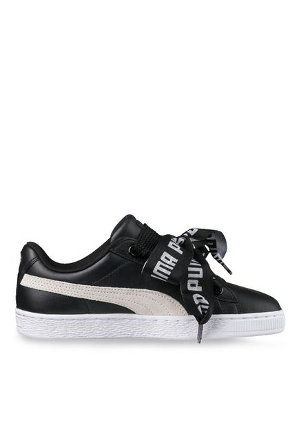 the latest 25bf4 11186 Buy Puma Basket Heart DE Black & White Sneakers for Women at ...