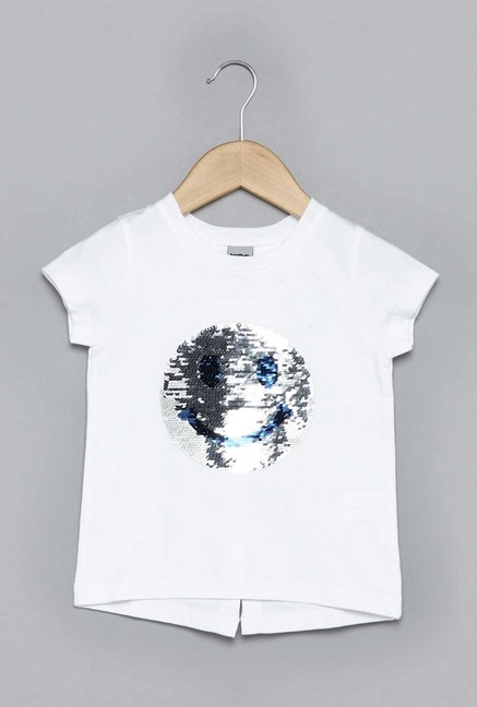 39bcb102b Buy HOP by Westside White Reversible Sequin T-Shirt for Girls Clothing  Online @ Tata CLiQ