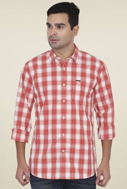 4d393646 Buy Wrangler Orange & White Full Sleeves Checks Shirt for Men ...
