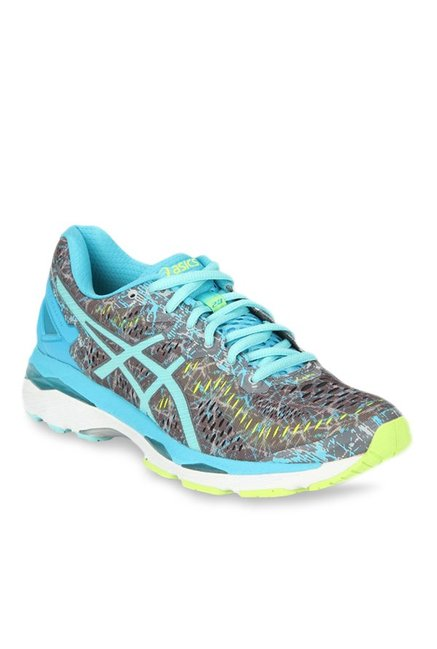 new product dc870 cfaec Buy Asics Gel-Kayano 23 Shark Grey & Aqua Blue Running Shoes ...