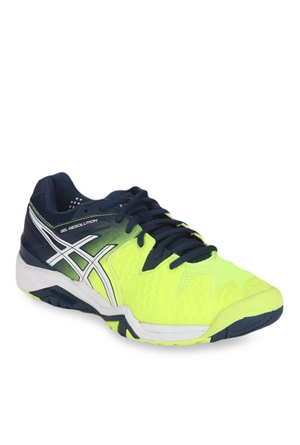 f4b9fbb77a Buy Asics Gel-Resolution 6 Safety Yellow & Navy Tennis Shoes for Men ...