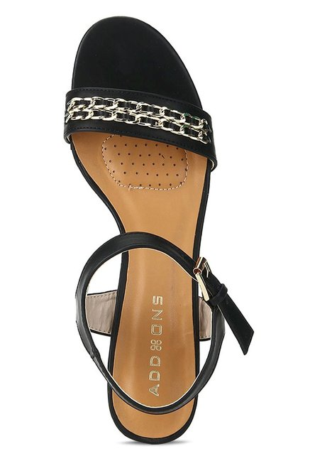 Addons Black Ankle Strap Sandals