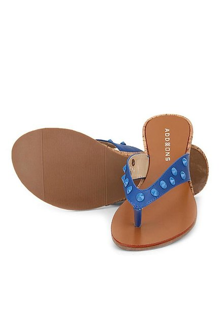 Addons Blue Thong Wedges