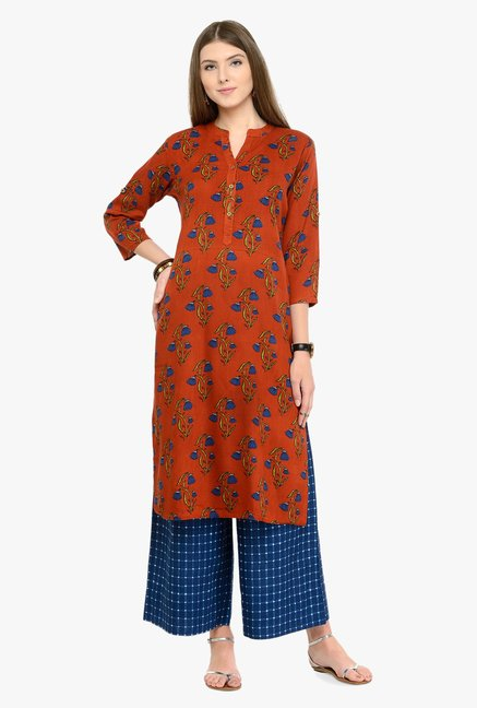 Varanga Rust & Blue Printed Cotton Kurta With Palazzos