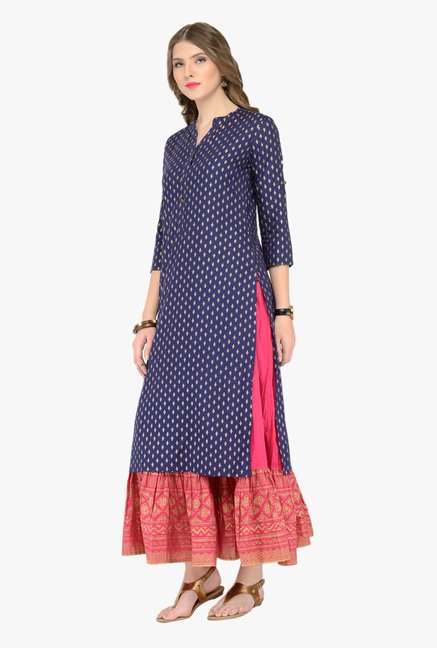 Varanga Navy & Pink Printed Kurta With Skirt