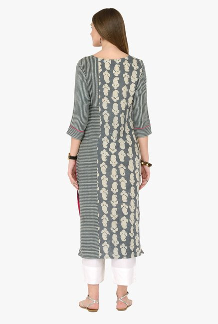 Varanga Grey Printed Cotton Kurta