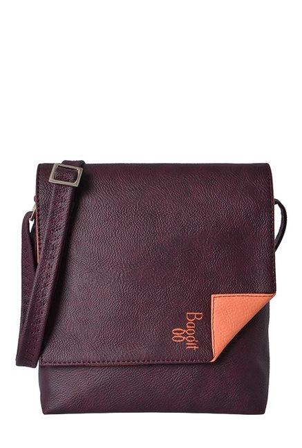 e2c4df5fc87d Buy Baggit LX4 Crumble Dora Wine Solid Flap Sling Bag For Women At Best  Price   Tata CLiQ