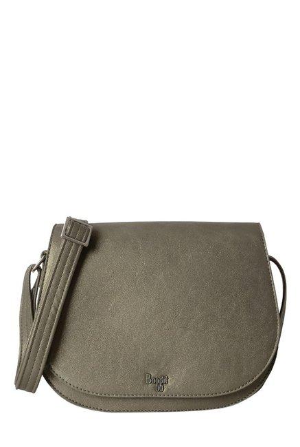 e40acc0eb869 Buy Baggit L Paddle Precious Metallic Grey Solid Flap Sling Bag For Women  At Best Price   Tata CLiQ