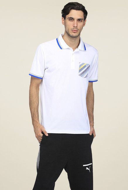 6ba98240726 Buy Puma White Regular Fit Polo T-shirt for Men Online @ Tata CLiQ