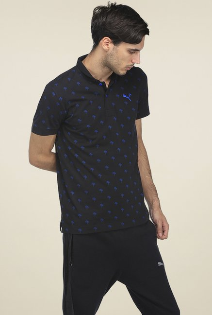 67b8debf3d1 Buy Puma Black & Blue Printed Slim Fit Cotton Polo T-shirt for Men ...