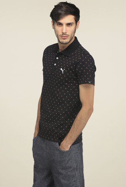 27b6f1092f9 Buy Puma Black Printed Slim Fit Cotton Polo T-shirt for Men Online ...