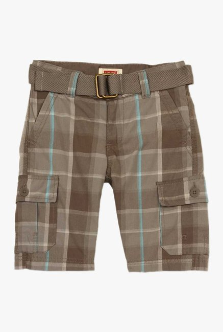 b2022d390 Buy Levi s Brown Plaid Shorts for Boys Clothing Online   Tata CLiQ