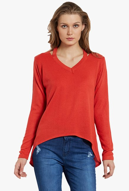 Globus Red V Neck Top