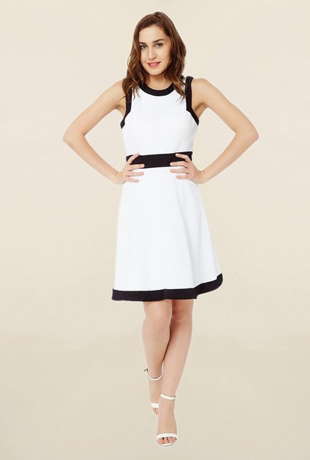 Avirate White Knee Length Dress