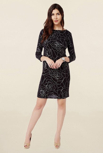 Avirate Black Printed Dress