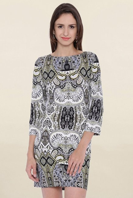 Avirate Grey Printed Dress