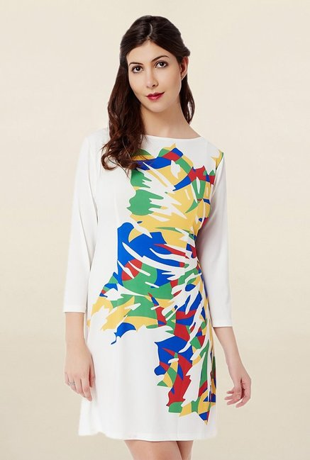 Avirate White Printed Dress