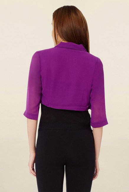 Avirate Purple Roll Collar Shrug