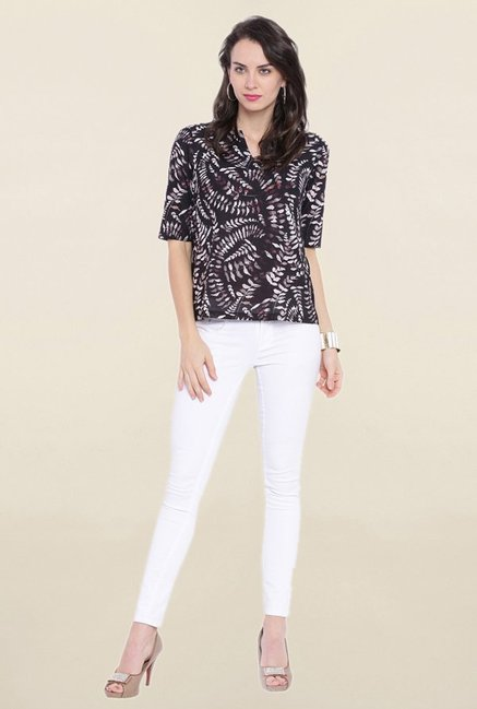 Avirate Black Printed Top