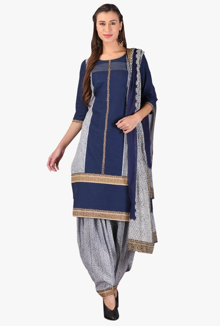 Aurelia Navy Printed Cotton Kurta