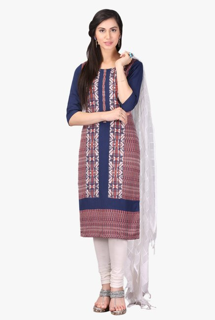 Aurelia Navy Embroidered Rayon Kurta