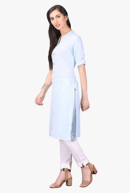 Aurelia Light Blue Regular Fit Cotton Kurta