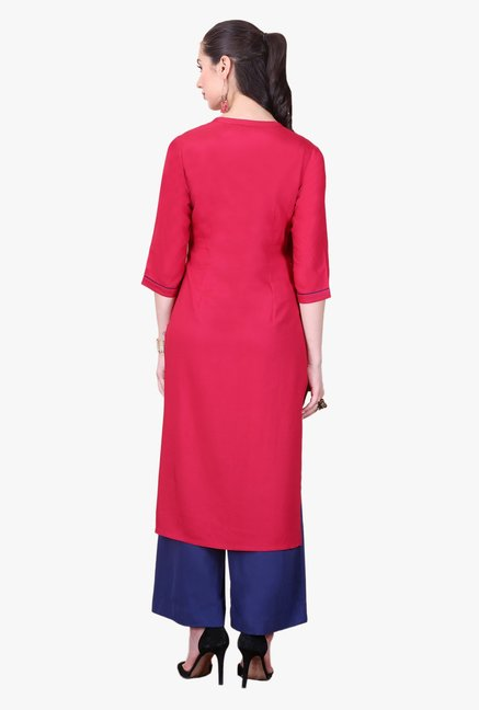 Aurelia Red Printed Viscose Kurta