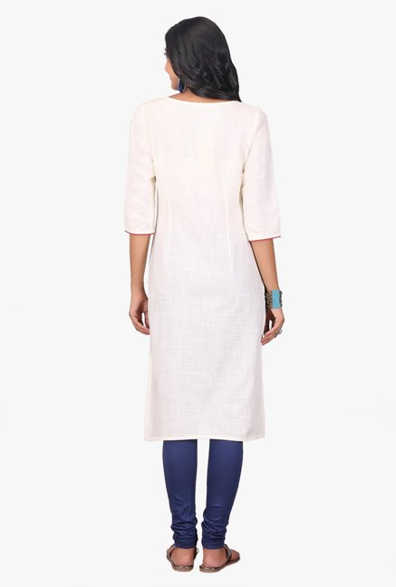 Aurelia White Embroidered Cotton Kurta