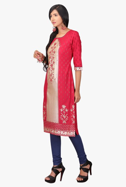 Aurelia Red Printed Cotton Kurta