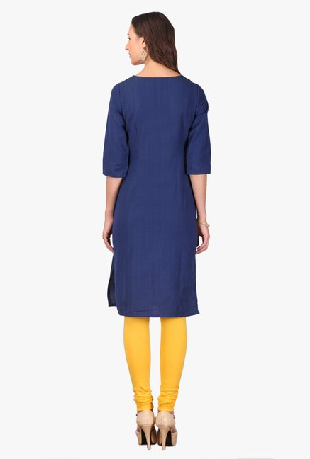 Aurelia Yellow & Navy Embroidered Rayon Kurta