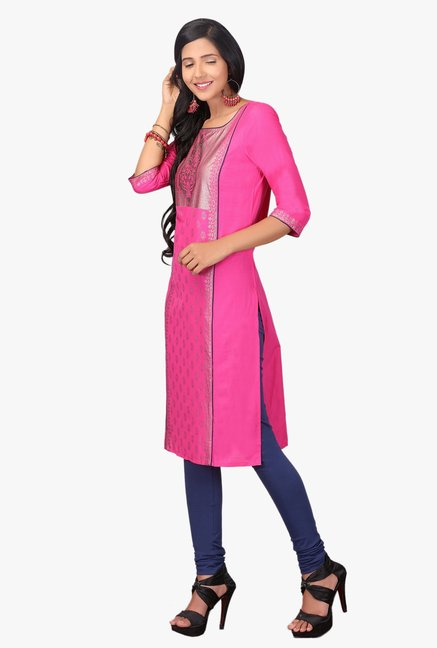 Aurelia Pink Printed Cotton Kurta