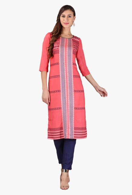 Aurelia Dark Peach Embroidered Rayon Kurta