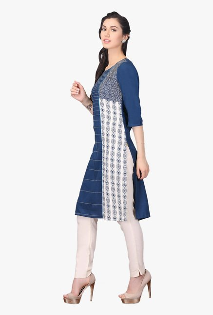Aurelia Teal Embroidered Rayon Kurta