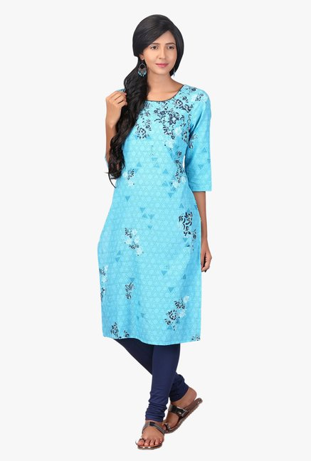 Aurelia Light Blue Printed Cotton Kurta