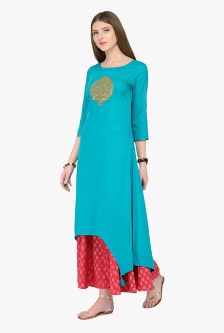 Varanga Teal & Pink Embroidered Kurta With Palazzos