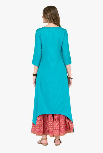 Varanga Teal & Pink Embroidered Kurta With Skirt