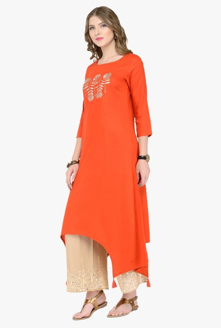 Varanga Orange & Beige Embroidered Kurta With Palazzos