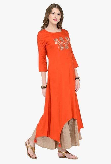 Varanga Orange Embroidered Kurta