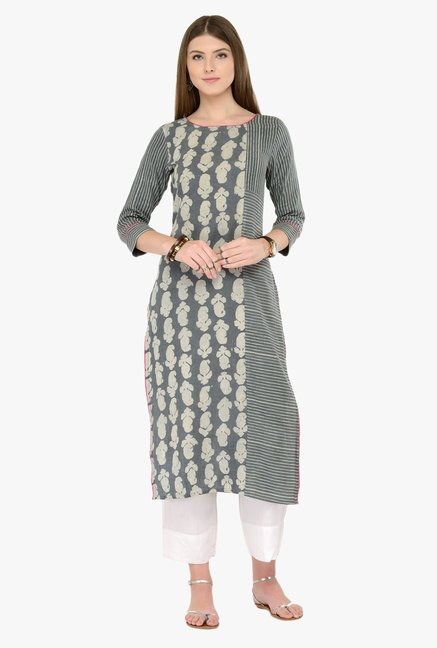 Varanga Grey & White Printed Kurta With Pants