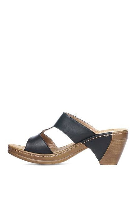 Pavers England Black Wedge Heeled Sandals
