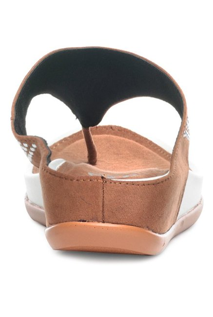 Pavers England Brown Thong Wedges