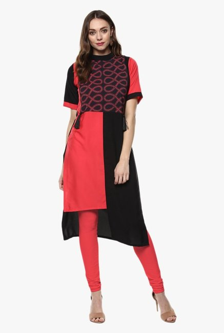 Ziyaa Black & Red Printed Crepe Kurta