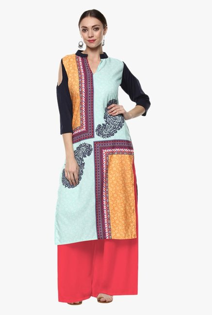 Ziyaa Blue & Orange Paisley Print Crepe Kurta
