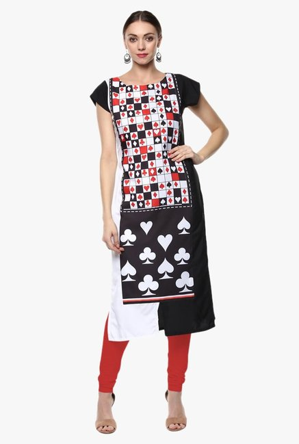 Ziyaa Off White & Black Printed Crepe Kurta