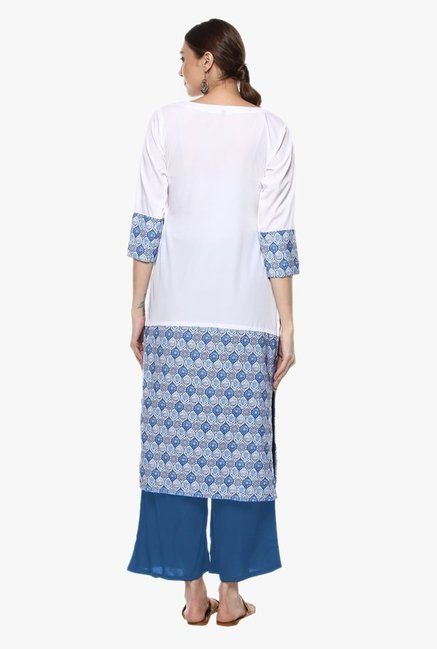 Ziyaa Off White & Blue Printed Crepe Kurta