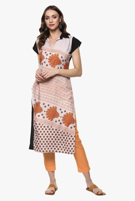 Ziyaa Orange Printed Crepe Kurta