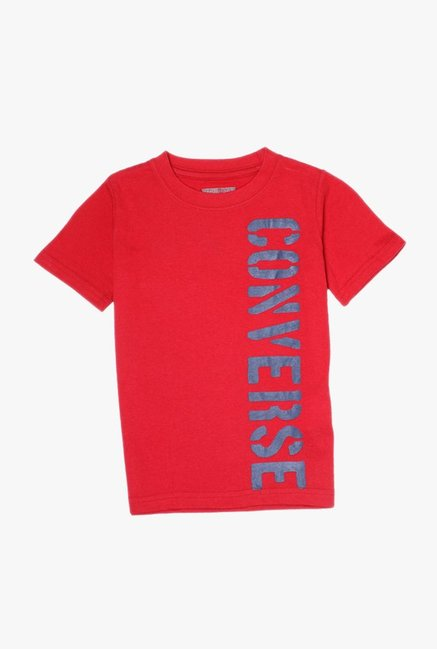 4bef77a95284 Buy Converse Red Printed T-Shirt for Boys Clothing Online   Tata CLiQ
