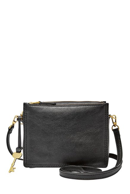 270cf2b0a Buy Fossil Black Solid Leather Sling Bag For Women At Best Price @ Tata CLiQ
